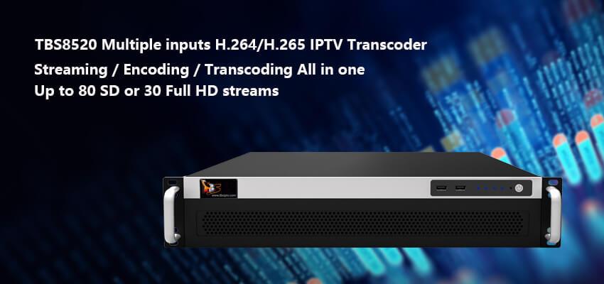 Multiple inputs H.264/H.265 IPTV Transcoder (TBS8520)